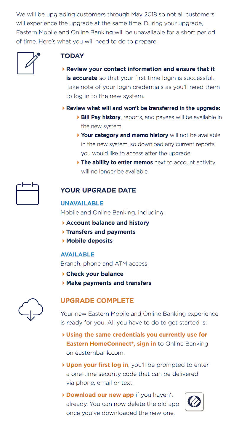 Mobile and Online Upgrade Timeline
