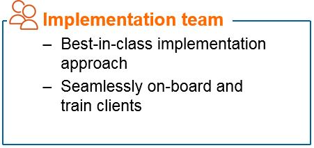 Info Graphic: Implementation team Best-in-class implementation approach Seamlessly on-board and train clients.