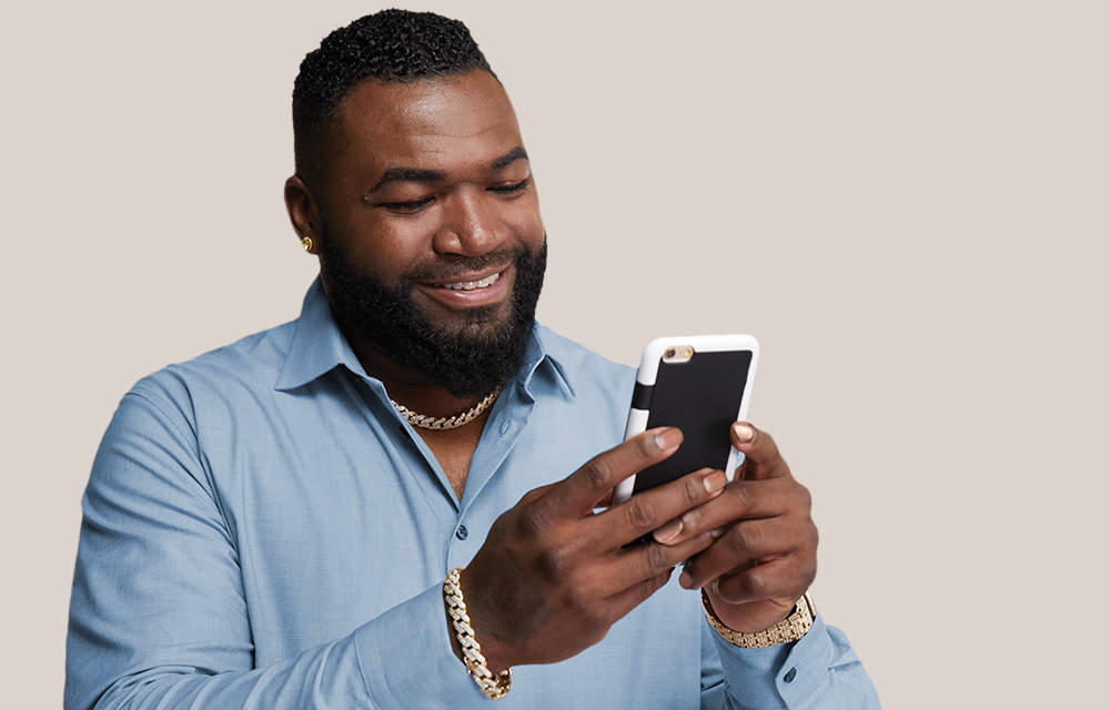 David Ortiz on mobile phone